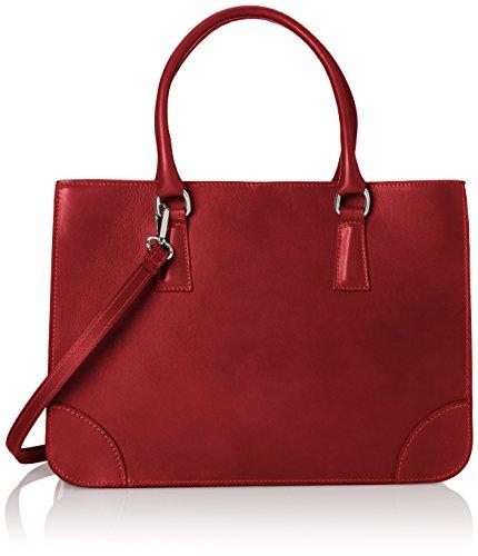 Bolsa CTM Mujer elegante clásica, estilo italiano, 36x26x18cm, cuero genuino 100% Made in Italy Rojo (Rosso)