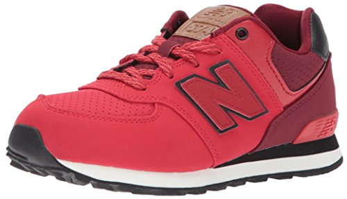 New Balance Boys' KL574 Sneaker, Red/Black, 6 W US Toddler