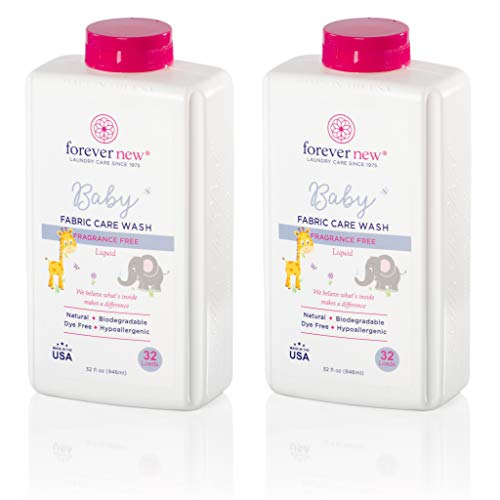 Baby Forever New 32oz - Liquid Fragrance Free Fabric Care Wash 2 Pack (64oz Total) - Baby Hypoallergenic Laundry Detergent
