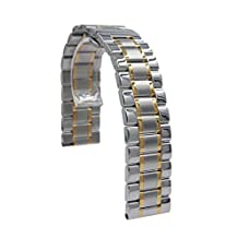 22mm Stainless Steel Quick Release Watch Band Strap Bracelet For Samsung Gear S3 Frontier / S3 Classic / Pebble Time (Silver + Yellow Gold)