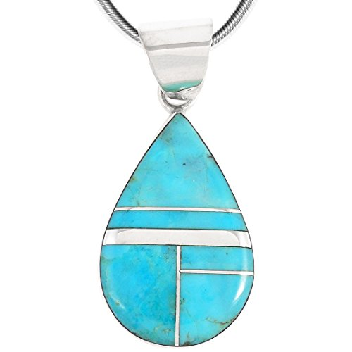 Turquoise Pendant Necklace in Sterling Silver (Teardrop)