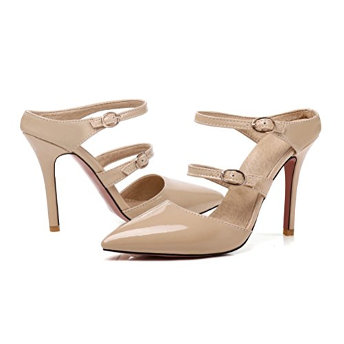 Summer Womens Pointed Patent Toe Leather Heel Sandals High Shoes Beige Pumps Slingback Stiletto Agodor PHWnZ88