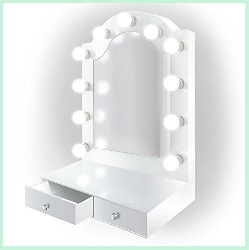 25 inch x 31 inch Lighted Hollywood Arch Vanity Mirror | Makeup Mirror With Storage| Table Top Or Wall Mount | Plug-in by Krugg (Image #6)
