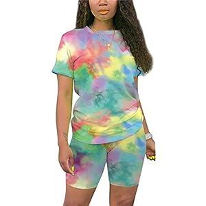Famnbro Womens 2 Piece Short Sets Summer Tie Dye Outfits Loungewear Casual Tracksuit Sweatsuit