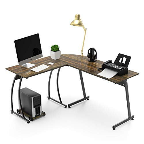 L Shaped Corner Computer Desk 59'' X 51'' Home Office Desks 3-Piece Corner Laptop Table with Free CPU Stand 2 Sides Switch ()