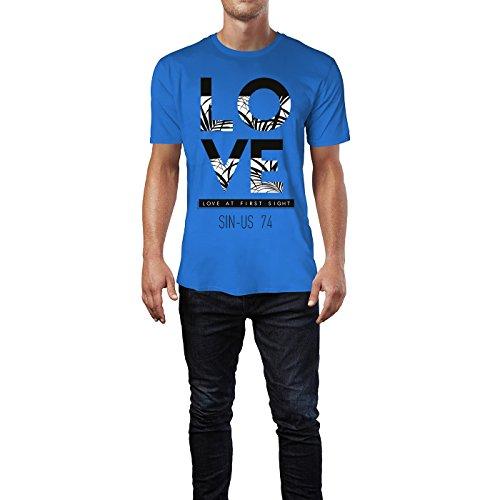 SINUS ART ® Love At First Sight Typographie mit Palmen Herren T-Shirts in Blau Fun Shirt mit tollen Aufdruck