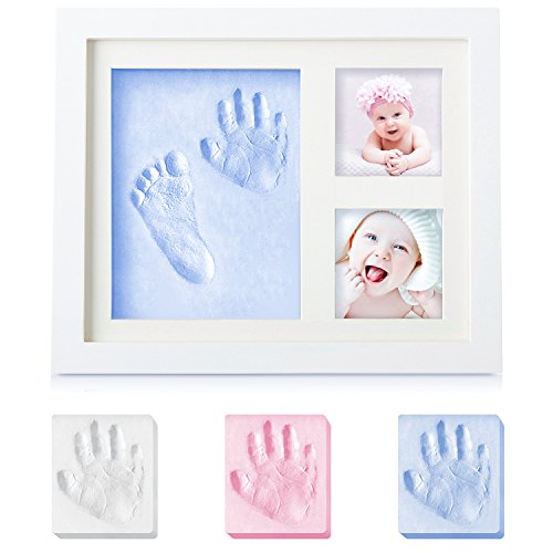 Baby Gifts Newborn Handprint and Footprint Photo Frame Kit Keepsake,Baby Shower Gifts for Registry,Best Baby Gifts for Girls and Boys,Environmentally Friendly Wood&Natural Non-Toxic Clay