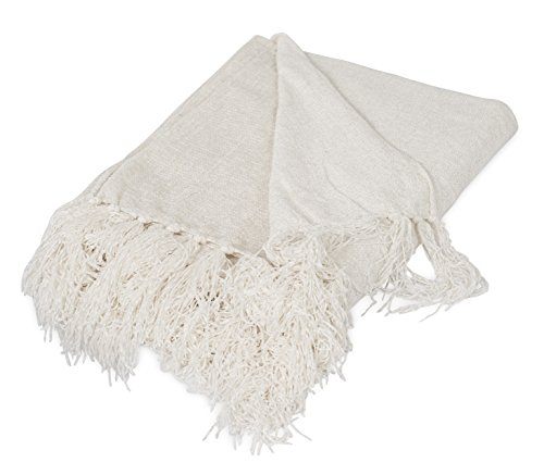 Internet's Best Chenille Throw Blankets | Ivory | Ultra Soft Couch Blanket with Fringe | Light Weight Sofa Throw | 100% Microfiber Polyester | Easy Travel | Bed | 50 (Chenille Fringe)
