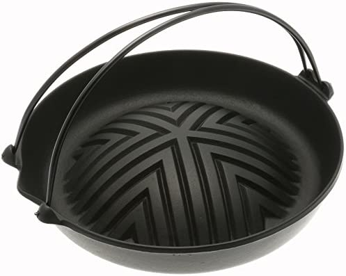 Iwachu Cast Iron Genghis Khan Grill Pan, Black