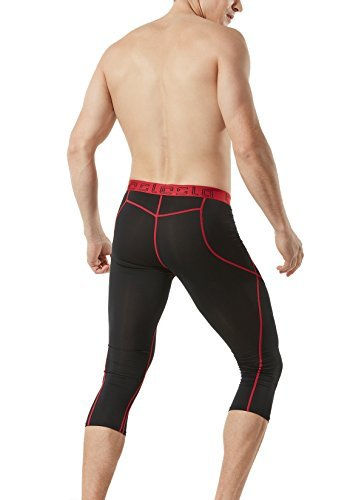 TSLA TM-MUC18-KKR_2X-Large Men's Compression 3/4 Capri Shorts Baselayer Cool Dry Sports Tights MUC18
