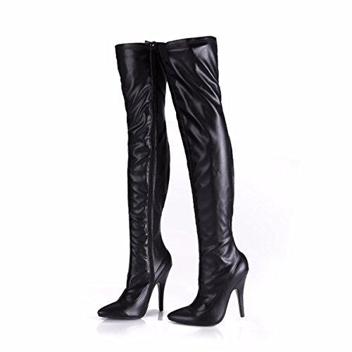 GTVERNH Zapatos de Mujer/Verano/Longitud De La Rodilla Botas Piernas Delgadas Elastico Sexy Super Botas Altas 12Cm Delgada Tacones Botas Largas. Dumb black