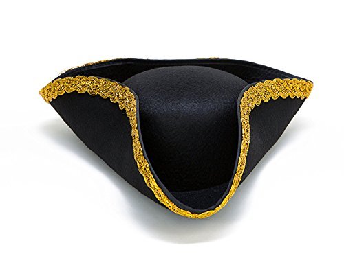 Dazzling Toys Colonial Tricorn Revolutionary War - Pirate Hat 1 Per Pack (Revolutionary War Hats)