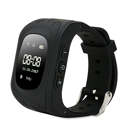GPS Tracking Watch for Kids SOS Call, FREESOO Q50 Upgraded Smart Watch GPS Tracker Led Display Smart Phone Watch for Children Control by iOS Android Smartphone(Black)