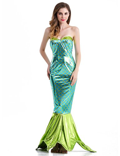 [WOPS Sexy Halloween Costume Wet Look Mermaid Costume for Women (M)] (Sea Siren Mermaid Costume)