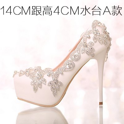 Heel High Crystal VIVIOO Women Shoes For Sandals Prom Party Colorful Crystal White Shoes Waterproof 6 Wedding Wristband Bride 14Cm Shoes Heels Diamond wEAFRq