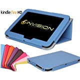 Invision Kindle Fire HD Compact Case TM - 2012 v.2 Full Grade Leather (PU) with Smooth Micro-Fibre Inner Lining - WITH BUILT IN AUTO WAKE / SLEEP FUNCTION & MAGNETIC SECURE CLOSE FRONT COVER (Kindle Fire HD Blue 2012 Model)