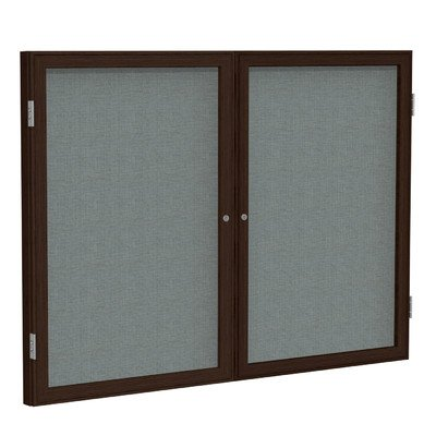 2 Door Enclosed Bulletin Board Frame Finish: Walnut, Surface Color: Gray, Size: 3' H x 4' W by Ghent
