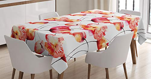 """Ambesonne Watercolor Flower Tablecloth, Shaded Large Poppy and Tulip Flower Painting Spring Blooms Season, Rectangular Table Cover for Dining Room Kitchen Decor, 60"""" X 90"""", Orange White"""