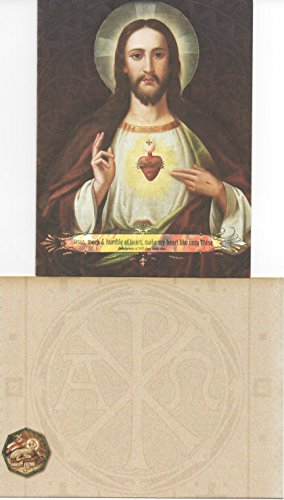 - Sacred Heart of Jesus Holy Note Card w/Bookmark, Envelope & Religious Eraser Design 1