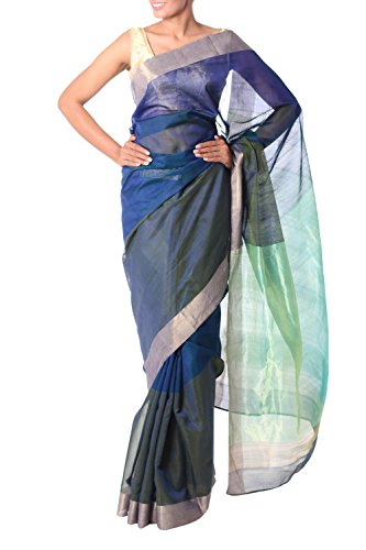 NOVICA Blue and Green Cotton and Silk Sari, 'Regal Blue Allure' by NOVICA