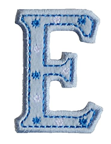 TrickyBoo Iron-On Letter Patch Craft Applique E Baby Blue 5Cm For Clothing Fabric Names Crafts Jeans To Iron On Personally Clothes Birthday Christening Birth Application Sports Football Club City - Elmos Letter