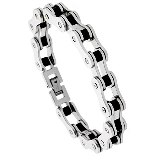 Stainless Steel Bicycle Chain Bracelet For Men Black Rubber Accent 1/2 inch wide, 8 inch long