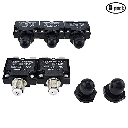 iztor 5PCS Push Button Reset 5A Circuit Breakers with Quick Connect Terminals and Waterproof Button Black (Reset Circuit Breaker)