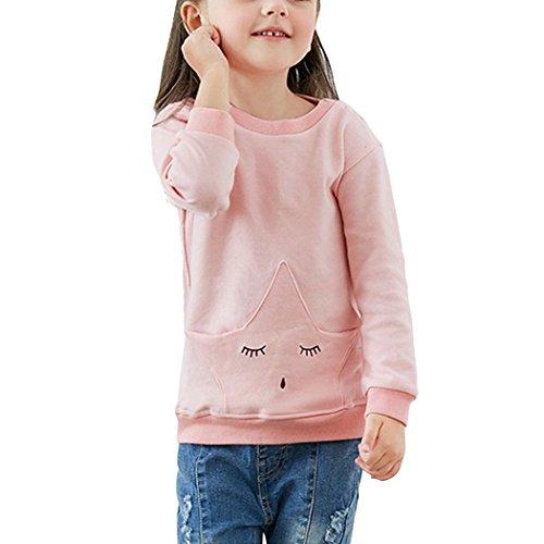 YISUMEI Little Girls Long Sleeve Pajamas Pjs T-Shirt Cute Star 18 Months