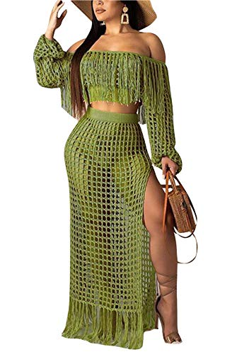 FEIYOUNG Women's Sexy Hollow Out Mesh Tassels Crop Tops and Maxi Skirts Two Pieces Skirt Suits Bikinis Cover Ups (Medium, Green)