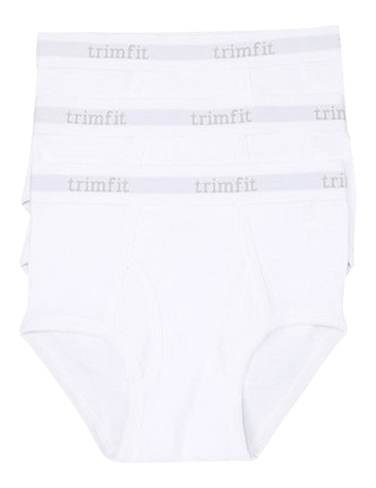 Trimfit Big Boys Tagless 100% Combed Cotton Briefs 3-Pack White L (10-12) 84000-L-100