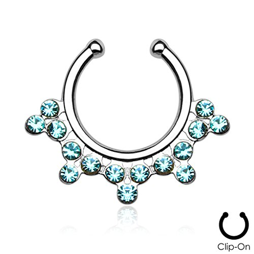 Snowflake with Aqua Glass/Gems Non-Piercing Steel Septum Hanger - Sold Individually (Snowflake Piercing Gem compare prices)