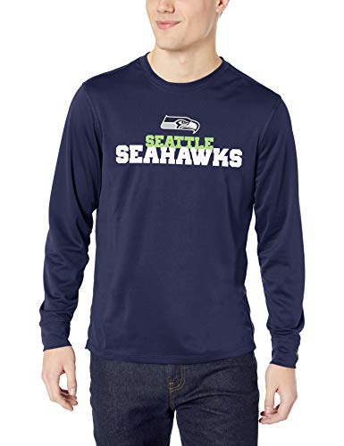 NFL Seattle Seahawks Men's OTS Poly Dot Long Sleeve Tee, Piled, Large (Seattle Seahawks Shirt)