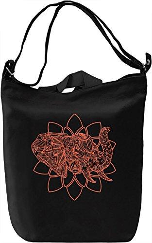 Lotus elephant Borsa Giornaliera Canvas Canvas Day Bag| 100% Premium Cotton Canvas| DTG Printing|