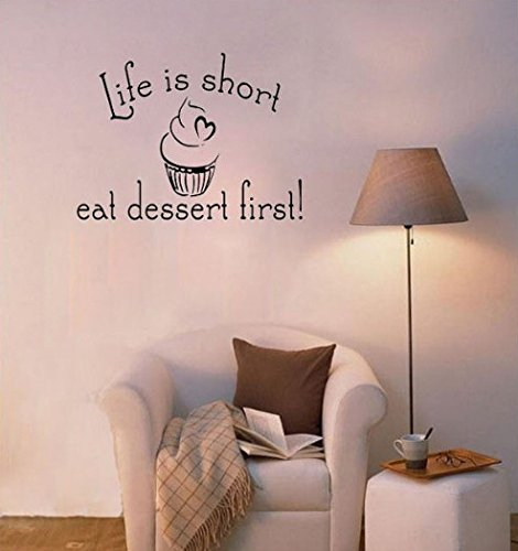 Dailinming PVC Wall Stickers Life is Short Eat dessert kitchen living room windows and home decorWallpaper38.1cm x20.3cm-Deep Purple -