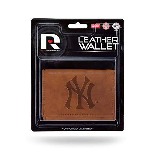 - Rico New York Yankees MLB Embossed Brown Leather Trifold Wallet