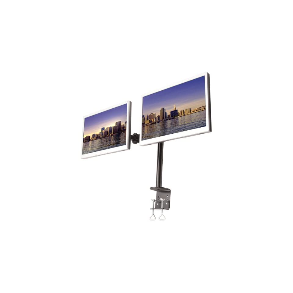 MonMount Dual LCD Monitor, Desk Mount Stand Arm Holds up to Two 27 Screens, Black (LCD 194B)