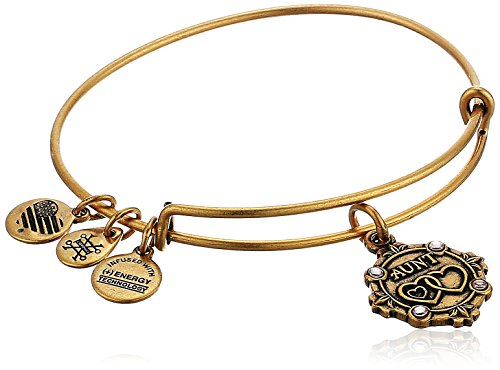 Alex and Ani Womens Because I Love You, Aunt Charm Bangle Bracelet, Rafaelian Gold, Expandable