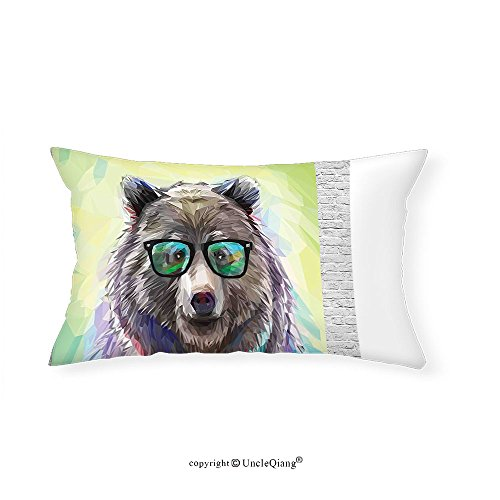 VROSELV Custom pillowcasesAnimal Funny Cool Low Wild Hipster Bear with Spectacles Colorful Portrait for Bedroom Living Room Dorm Lime Green Blue Gray - Spectacles Chinese