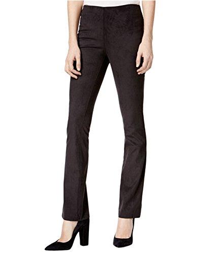 kensie Womens Faux Suede Flat Front Bootcut Pants Black (Black Suede Pants)