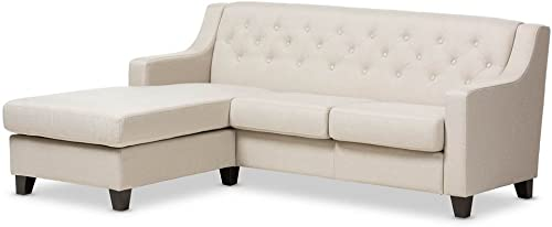 Baxton Studio Arcadia Light Beige Fabric Upholstered Button-Tufted 2-Piece Sectional Sofa