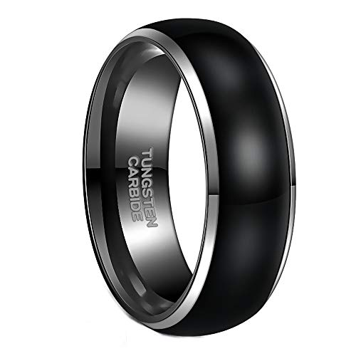 Frank S.Burton 8MM Black Tungsten Ring for Men High Polish Classic Dome Style Comfort Fit Size 12 ()
