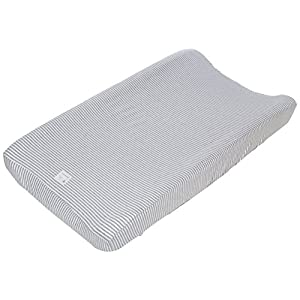 Burt's Bees Baby – Changing Pad Cover, 100% Organic Cotton Changing Pad Liner for Standard 16″ x 32″ Baby Changing Mats (Heather Grey Thin Stripes)