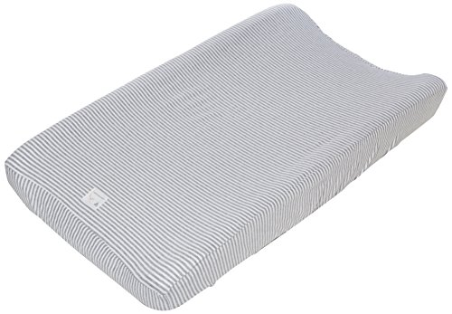 "Burt's Bees Baby - Changing Pad Cover, 100% Organic Cotton Changing Pad Liner for Standard 16"" x 32"" Baby Changing Mats (Heather Grey Thin Stripes)"