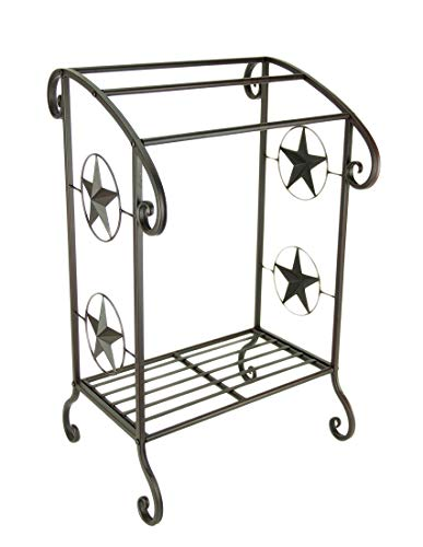 DeLeon Collections Rustic Brown Western Star Decorative Standing Towel Rack