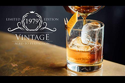 1979 Birthday Gifts for Women and Men Whiskey Glass - Funny Vintage Anniversary Gift Ideas for Him, Her, Dad, Mom, Husband or Wife. 11 oz Whisky Bourbon Scotch Glasses. Party Favors Decorations by Humor Us Home Goods (Image #3)