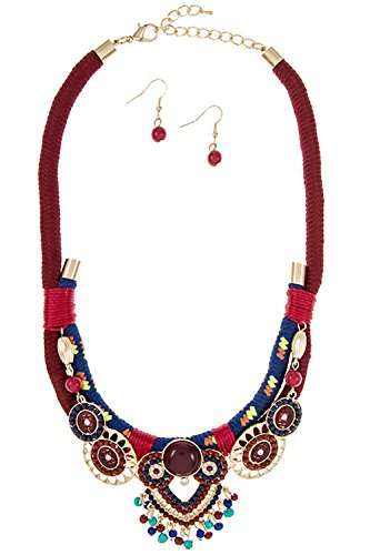 GlitZ Finery Acrylic Ornate Detailed Dangle Pendant Rope Accent Necklace Set (Burgundy)