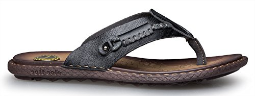 norocos Mens Classical Comfortable Flip Flops Rubber Slippers Casual Leather Sandals .Black FdHln2qm