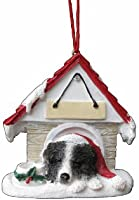 """Border Collie Ornament A Great Gift For Border Collie Owners Hand Painted and Easily Personalized """"Doghouse Ornament"""" With Magnetic Back"""