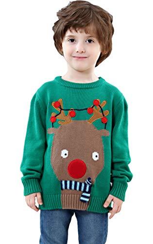 Shineflow Children Kids Rudolph Reindeer 3d Red Nose Ugly Christmas Sweater Jumper Green (4Y)]()