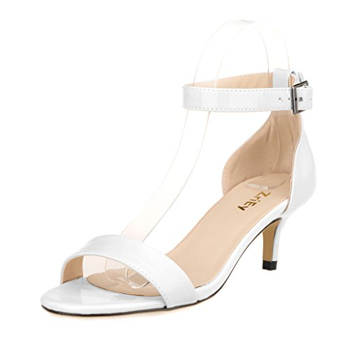 ZriEy Women Sexy Open Toe Ankle Straps Low Heel Sandals White Size (Womens Low Heel)
